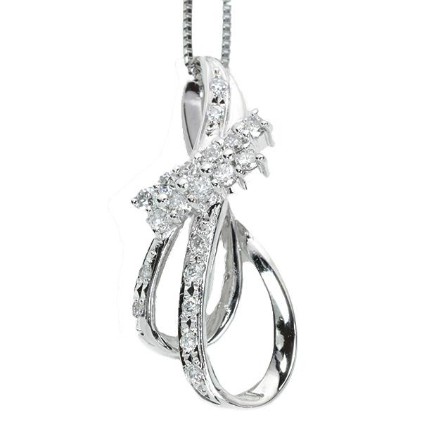【10%OFFクーポン対象&P2倍】ダイヤモンド 0.50カラット ネックレス プラチナ PT900/PT850 曲線美 縦ラインネック ダイヤプチ /白・透明(ホワイト)/アウトレット・新品/届10/1点もの