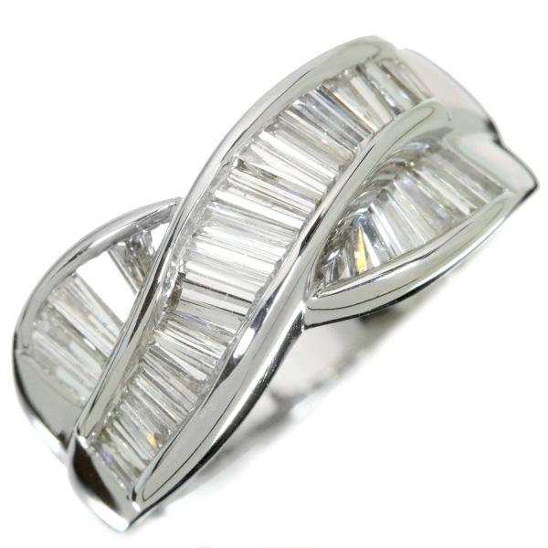 【10%OFFクーポン対象&P2倍】テーパーカット ダイヤモンド 1.50カラット リング/指輪 プラチナ900 PT900 レールセット・豪華 肉厚 ひっかかりなし /白・透明(ホワイト)/【中古】/届5/ラックジュエル luckjewel/1点もの