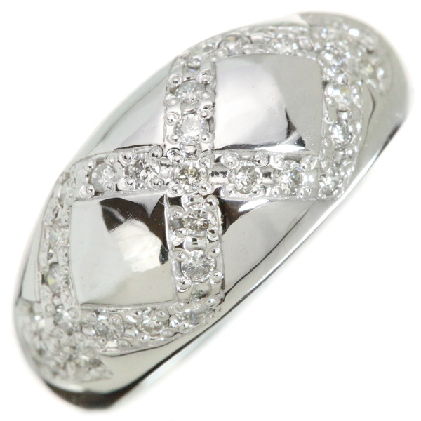 【クーポンで15%OFF&P2倍】ダイヤモンド 0.290カラット リング/指輪 18金ホワイトゴールド K18WG ぷっくり 鏡面にダイヤのライン /白・透明(ホワイト)/【中古】/届5/