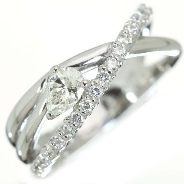 ダイヤモンド 0.295カラット リング/指輪 プラチナ900 PT900 ペアシェイプカットダイヤ /白・透明(ホワイト)/受注生産品・新品/届30/ラックジュエル luckjewel/1点もの