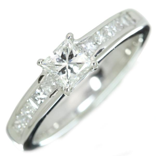 【10%OFFクーポン対象&P2倍】VVS2 角 ダイヤモンド 0.517カラット リング/指輪 プラチナ900 PT900 角ダイヤのレールセットアーム・肉厚 /白・透明(ホワイト)/オリジナルジュエル・新品/届30/ラックジュエル luckjewel/1点もの
