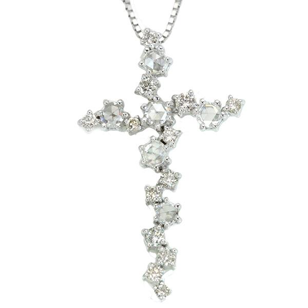 【10%OFFクーポン対象&P2倍】ローズカット ダイヤモンド 0.50カラット ネックレス 18金ホワイトゴールド K18WG 個性的なクロスモチーフ /白・透明(ホワイト)/アウトレット・新品/届10/1点もの