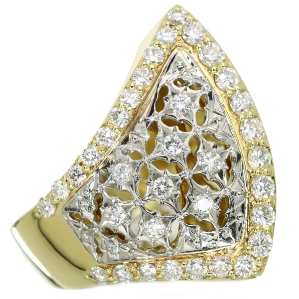 【10%OFFクーポン対象&P2倍】ダイヤモンド 0.920カラット リング/指輪 18金 プラチナ K18/PT900 芸術的デザイン アシンメトリ 幅広 /白・透明(ホワイト)/【中古】/届5/ラックジュエル luckjewel/1点もの