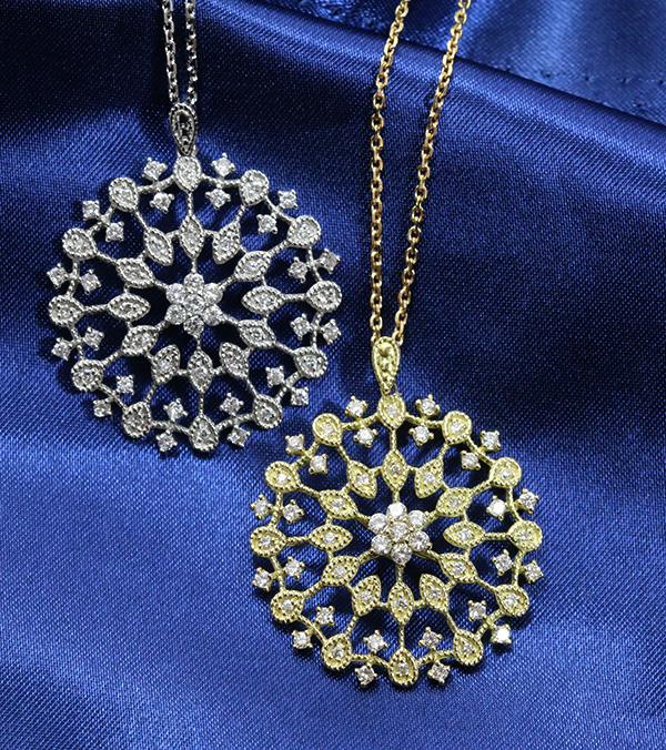 アラベスク ダイヤモンド ネックレス 0.9ct K18 PG WG 18金 花火のような大きなサークル ロング全長60センチ /白・透明(ホワイト)/受注生産品・新品/届30/34559/