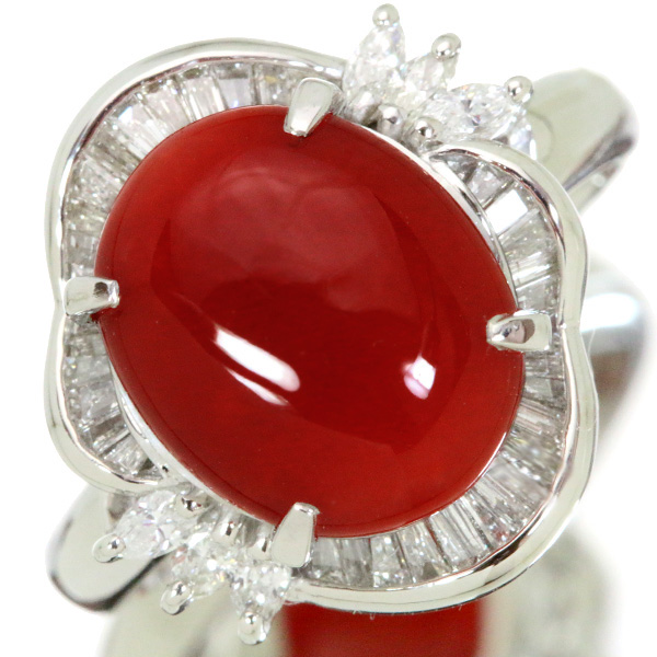 【クーポンで最大30%OFF!】サンゴ/珊瑚 リング/指輪 3.6カラット プラチナ900 PT900 ダイヤ取り巻き 血赤色の上質 /赤(レッド)/アウトレット・新品/届10/1点もの