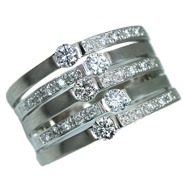 【10%OFFクーポン対象&P2倍】5連 ダイヤモンド リング/指輪 0.51カラット プラチナ900 PT900 豪華 艶消しとダイヤの煌めき 幅広 /白・透明(ホワイト)/アウトレット・新品/届10/1点もの