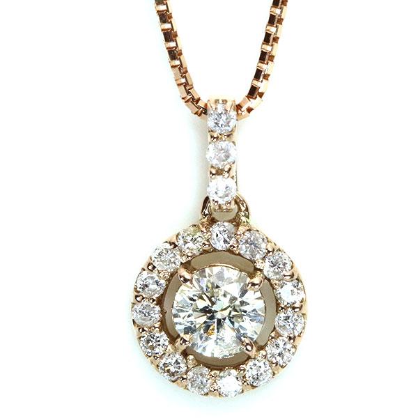 【10%OFFクーポン対象&P2倍】ダイヤモンド ネックレス 0.3カラット 18金ピンクゴールド K18PG ダイヤ尽くし ダイヤをダイヤで取り巻き /白・透明(ホワイト)/アウトレット・新品/届10/1点もの