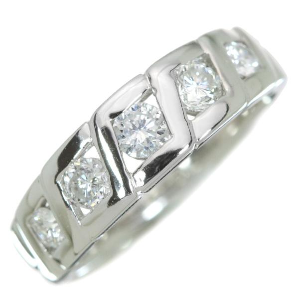 【10%OFFクーポン対象&P2倍】ダイヤモンド リング/指輪 0.55カラット プラチナ900 PT900 一文字 5石 引っかかりなし /白・透明(ホワイト)/【中古】/届5/ラックジュエル luckjewel/1点もの