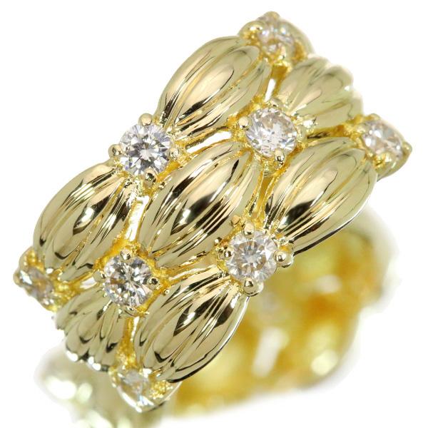 【クーポンで15%OFF&P2倍】ダイヤモンド リング/指輪 0.8カラット 18金イエローゴールド K18 ボリューム 幅広 /白・透明(ホワイト)/【中古】/届5/