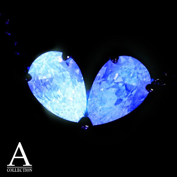 蛍光ダイヤシリーズ ダイヤモンド 0.302ct&0.311ct ペアシェイプダイヤ2石でハート ハンドクラフト PT900/PT850 ネックレス/黄(イエロー)/セレクトジュエリー・新品/届10/1点もの