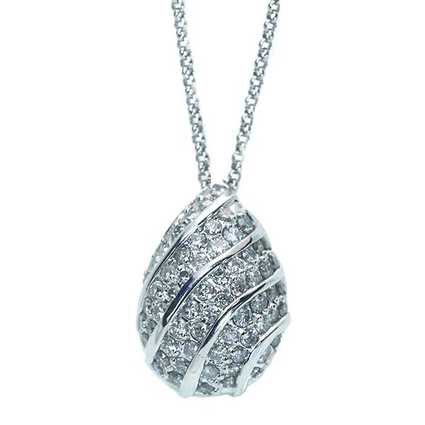 【クーポンで15%OFF&P2倍】ダイヤモンド ネックレス 1.01カラット 18金ホワイトゴールド K18WG びっしりダイヤパヴェ 雫のよう /白・透明(ホワイト)/【中古】/届5/ラックジュエル luckjewel/
