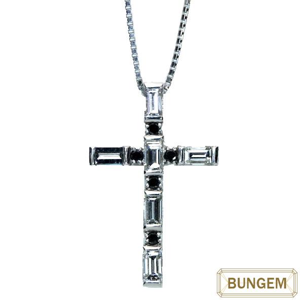 ダイヤモンド ネックレス 0.95カラット プラチナ PT900/PT850 クロス モノトーン 十字架 /黒(ブラック)/セレクトジュエリー・新品/届10/ラックジュエル luckjewel/1点もの