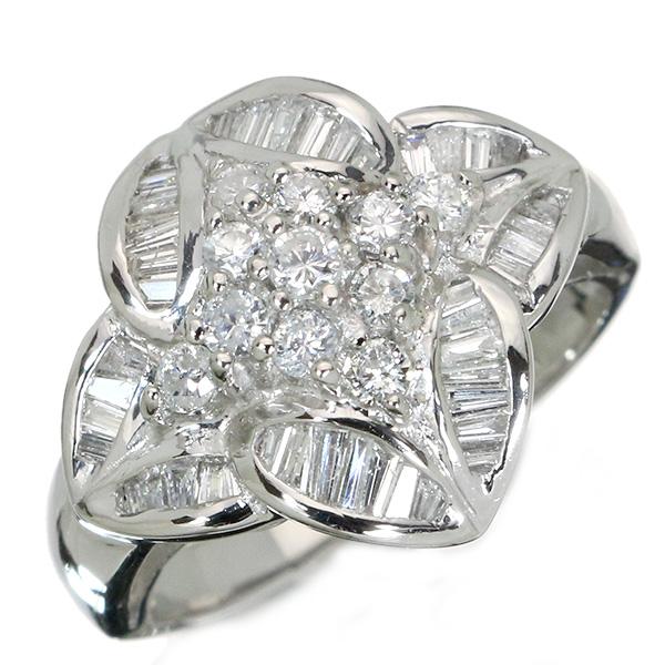【クーポンで15%OFF&P2倍】ダイヤモンド リング/指輪 0.80カラット プラチナ900 PT900 ラウンド&テーパーカットの2種類ダイヤ /白・透明(ホワイト)/アウトレット・新品/届10/