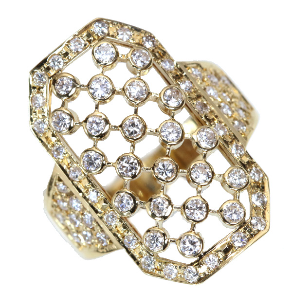 【10%OFFクーポン対象&P2倍】ダイヤモンド リング/指輪 0.960カラット 18金イエローゴールド K18 格子模様 上質ダイヤ /白・透明(ホワイト)/【中古】/届5/ラックジュエル luckjewel/1点もの