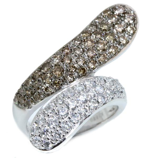 ブラウン ダイヤモンド リング/指輪 1.250カラット 18金ホワイトゴールド K18WG パヴェ 立体的 お揃いのペントップあり /白・透明(ホワイト)/アウトレット・新品/届10/