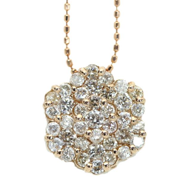 【10%OFFクーポン対象&P2倍】ダイヤモンド ネックレス 1.0カラット 18金ピンクゴールド K18PG びっしり 1カラット 眩しき輝き /白・透明(ホワイト)/アウトレット・新品/届10/1点もの