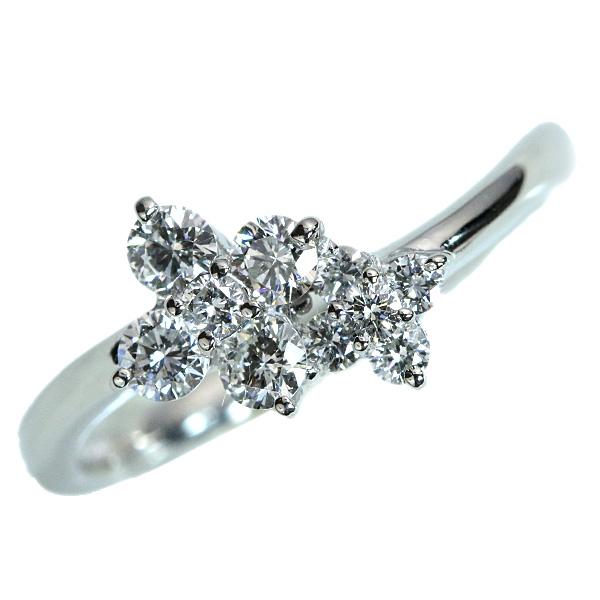 ダイヤモンド リング/指輪 0.450カラット プラチナ900 PT900 流れるライン シンプル 普段使い /白・透明(ホワイト)/【中古】/届5/ラックジュエル luckjewel/1点もの