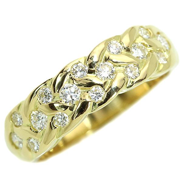 ダイアモンド 4月誕生石 春の新作 リング 指輪 送料無料 ダイヤモンド 0.450カラット 18金イエローゴールド K18 倉庫 交差するラインに煌めくダイヤ 中古 透明 ラックジュエル 白 届5 luckjewel 1点もの ホワイト
