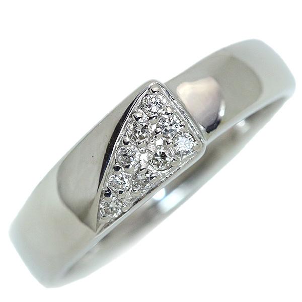 ダイヤモンド リング/指輪 0.090カラット プラチナ900 PT900 ストレートライン 普段使い /白・透明(ホワイト)/【中古】/届5/ラックジュエル luckjewel/