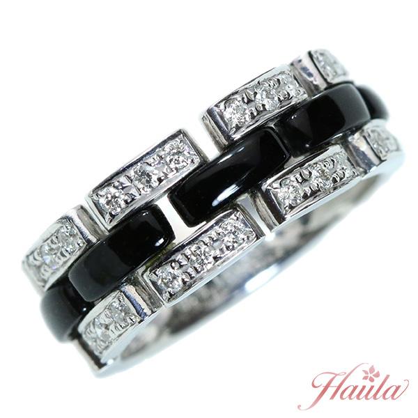 【10%OFFクーポン対象&P2倍】ダイヤモンド リング/指輪 0.30カラット K18WG チェーンデザイン ブランドライク /黒(ブラック)/セレクトジュエリー・新品/届10/1点もの