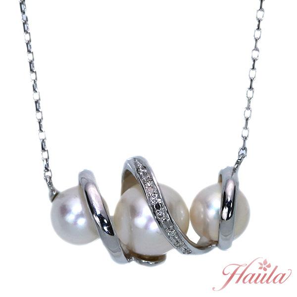 あこや真珠/和珠 ネックレス 8ミリ、6.5ミリ位 18金ホワイトゴールド K18WG 横ライン 3珠並ぶ上品デザイン /白・透明(ホワイト)/セレクトジュエリー・新品/届10/ラックジュエル luckjewel/