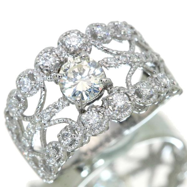 【10%OFFクーポン対象&P2倍】ダイヤモンド リング/指輪 0.502カラット プラチナ900 PT900 幅広 ミルグレーン エンゲージ ソーティング付 /白・透明(ホワイト)/アウトレット・新品/届10/1点もの