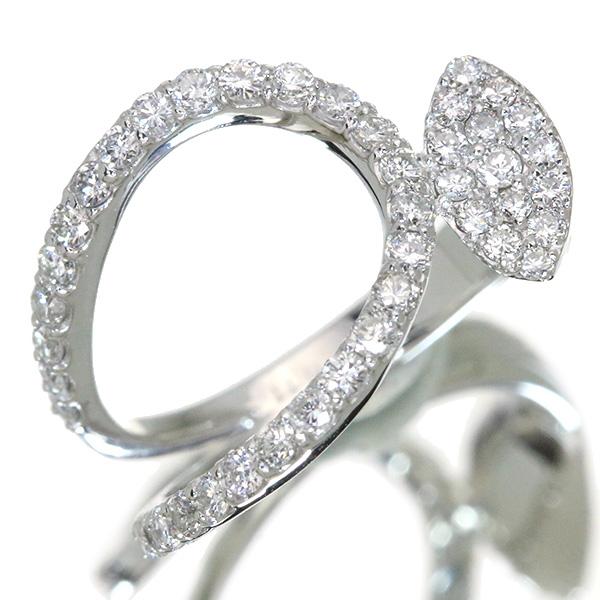 【10%OFFクーポン対象&P2倍】ダイヤモンド リング/指輪 0.770カラット プラチナ900 PT900 スタイリッシュ アシンメトリ /白・透明(ホワイト)/アウトレット・新品/届10/1点もの