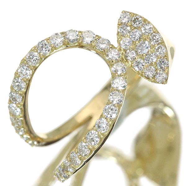 【10%OFFクーポン対象&P2倍】ダイヤモンド リング/指輪 0.770カラット 18金イエローゴールド K18 スタイリッシュ アシンメトリ /白・透明(ホワイト)/アウトレット・新品/届10/1点もの