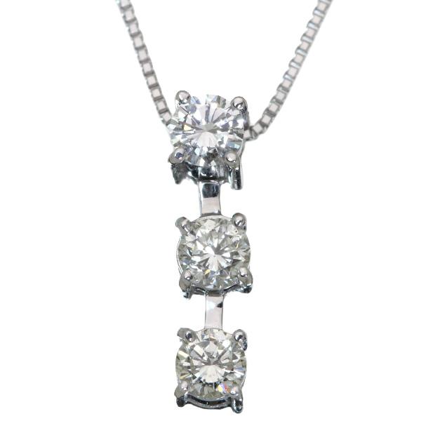 【10%OFFクーポン対象&P2倍】ダイヤモンド ネックレス 0.30カラット 18金ホワイトゴールド K18WG トリロジー 3石 縦ライン/白・透明(ホワイト)/アウトレット・新品/届10/1点もの