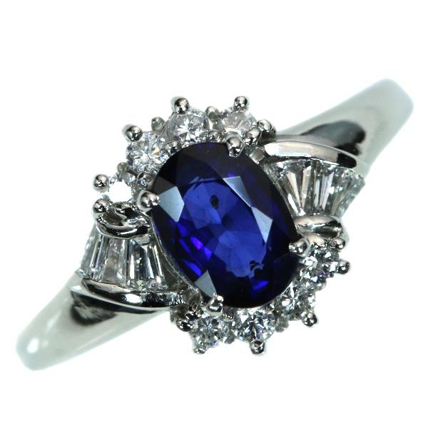 【10%OFFクーポン対象&P2倍】サファイヤ リング/指輪 1.145カラット プラチナ900 PT900 酷のある上質群青色 /青(ブルー)/【中古】/届5/ラックジュエル luckjewel/1点もの