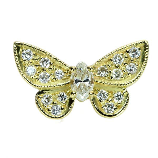 ダイヤモンド ピンブローチ 0.40カラット 18金イエローゴールド K18 バタフライモチーフ タイピン ピンタック /白・透明(ホワイト)/アウトレット・新品/届10/1点もの