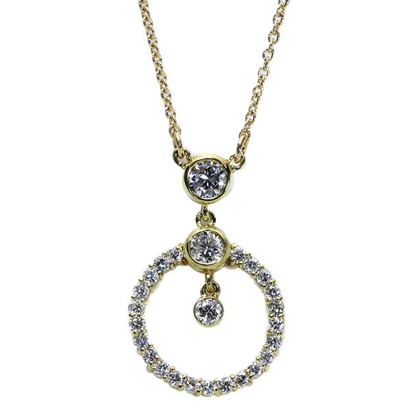 【10%OFFクーポン対象&P2倍】ダイヤモンド ネックレス 0.350カラット 18金イエローゴールド K18 サークル 個性的 /白・透明(ホワイト)/アウトレット・新品/届10/1点もの