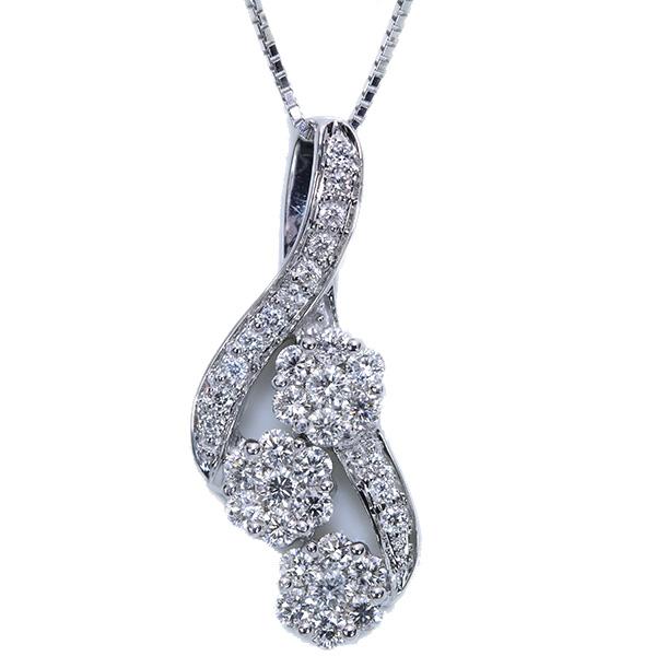 【クーポンで最大30%OFF!】ダイヤモンド ネックレス 1.0カラット 18金ホワイトゴールド K18WG 豪華ダイヤ尽くし 縦ラインフラワー /白・透明(ホワイト)/アウトレット・新品/届10/1点もの