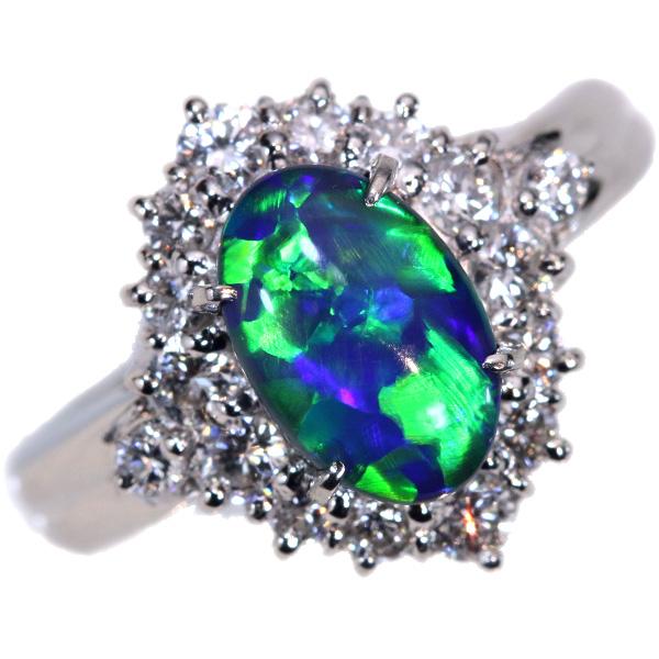 ブラックオパール リング/指輪 1.830カラット プラチナ900 PT900 豪華ダイヤ取り巻き プレイオブカラー /多彩(マルチ)/セレクトジュエリー・新品/届10/ラックジュエル luckjewel/1点もの