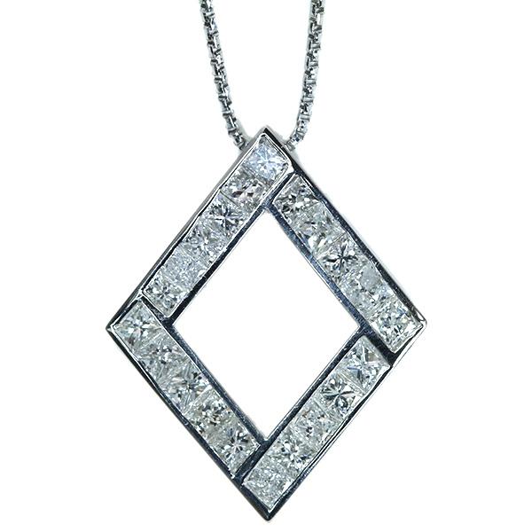 【10%OFFクーポン対象&P2倍】ダイヤモンド ネックレス 2.380カラット プラチナ850 PT850 すべて角ダイヤ 美麗なひし形 /白・透明(ホワイト)/アウトレット・新品/届10/ラックジュエル luckjewel/1点もの
