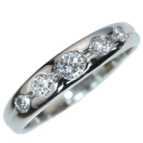 【10%OFFクーポン対象&P2倍】ダイヤモンド リング/指輪 0.50カラット プラチナ900 PT900 シンプル 一文字 普段使い /白・透明(ホワイト)/【中古】/届5/ラックジュエル luckjewel/1点もの