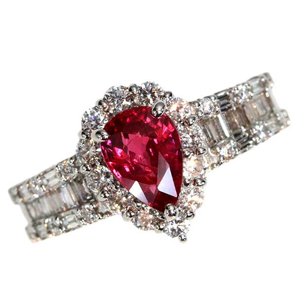 【10%OFFクーポン対象&P2倍】ルビー リング/指輪 1.347カラット プラチナ900 PT900 濃厚 確かなレッド 上質 ダイヤ取り巻き 定番 /赤(レッド)/匠コレクション・新品/届5/ラックジュエル luckjewel/1点もの