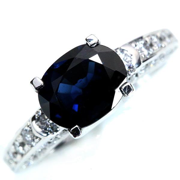 【10%OFFクーポン対象&P2倍】サファイヤ リング/指輪 2.432カラット プラチナ900 PT900 大粒 立体的 アームにたっぷりダイヤ /青(ブルー)/匠コレクション・新品/届5/ラックジュエル luckjewel/1点もの