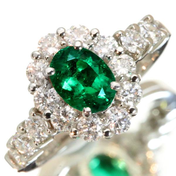 エメラルド リング/指輪 0.810カラット プラチナ900 PT900 オーバルカット ダイヤ取り巻き 上質 /緑(グリーン)/匠コレクション・新品/届5/ラックジュエル luckjewel/1点もの