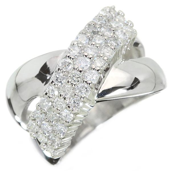 ダイヤモンド リング/指輪 0.870カラット プラチナ900 PT900 クロス パヴェ 幅広 /白・透明(ホワイト)/中古】/届5/ラックジュエル luckjewel/