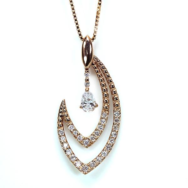 【10%OFFクーポン対象&P2倍】ダイヤモンド ネックレス 0.180カラット 18金ピンクゴールド K18PG 揺れる ダイヤのラインが美しい 贈り物 /白・透明(ホワイト)/アウトレット・新品/届10/ラックジュエル luckjewel/1点もの