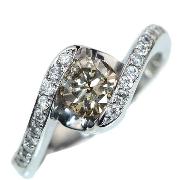 【クーポンで最大30%OFF!】大粒ブラウン ダイヤモンド リング/指輪 0.70カラット 18金ホワイトゴールド K18WG /茶(ブラウン)/アウトレット・新品/届10/ラックジュエル luckjewel/1点もの