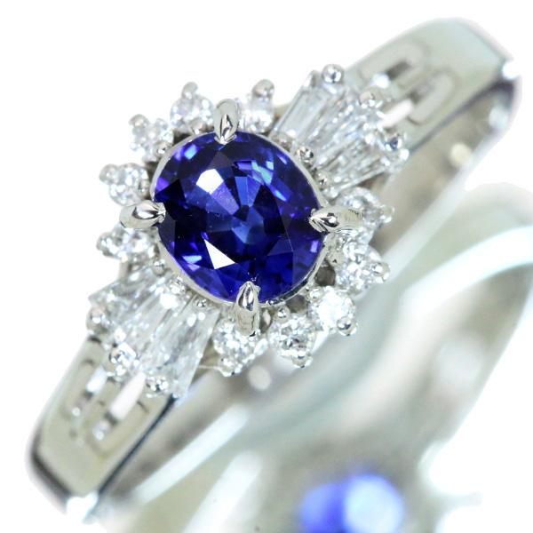 【10%OFFクーポン対象&P2倍】サファイヤ リング/指輪 0.580カラット プラチナ900 PT900 取り巻き 定番 上質の青 /青(ブルー)/【中古】/届5/ラックジュエル luckjewel/1点もの