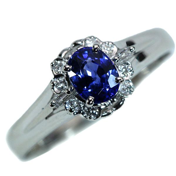 【10%OFFクーポン対象&P2倍】サファイヤ リング/指輪 0.630カラット プラチナ900 PT900 上質な青 ダイヤ取り巻き 定番 /青(ブルー)/【中古】/届5/ラックジュエル luckjewel/1点もの
