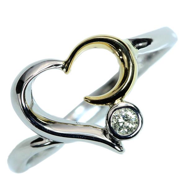 【10%OFFクーポン対象&P2倍】ダイヤモンド リング/指輪 0.050カラット プラチナ 18金 PT900/K18 オープンハート /白・透明(ホワイト)/【中古】/届5/ラックジュエル luckjewel/1点もの