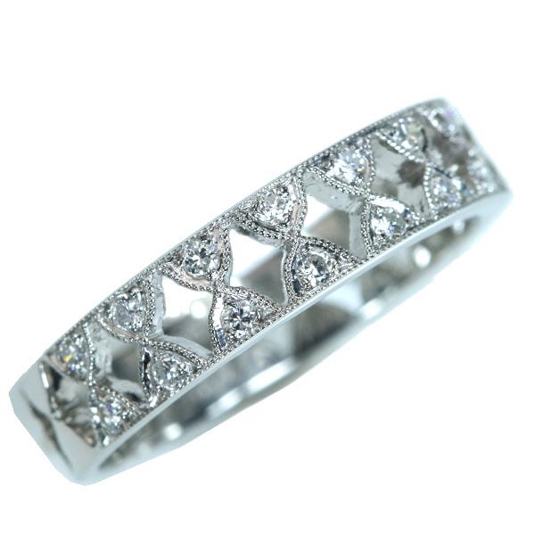 【クーポンで最大30%OFF!】ダイヤモンド リング/指輪 0.210カラット プラチナ950 PT950 フラットデザイン 普段使い /白・透明(ホワイト)/【中古】/届5/ラックジュエル luckjewel/1点もの