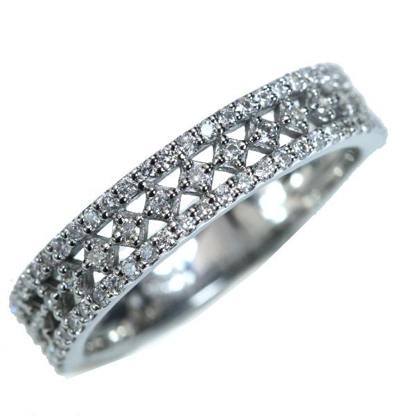 ダイヤモンド リング/指輪 0.340カラット 18金ホワイトゴールド K18WG 細やかなセッティング フラットデザイン /白・透明(ホワイト)/【中古】/届5/ラックジュエル luckjewel/