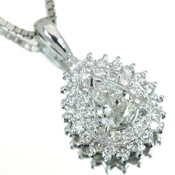 【10%OFFクーポン対象&P2倍】ダイヤモンド ネックレス 0.40カラット プラチナ PT900/PT850 ペアシェイプ ダイヤ取り巻き 肉厚 /白・透明(ホワイト)/【中古】/届5/ラックジュエル luckjewel/1点もの
