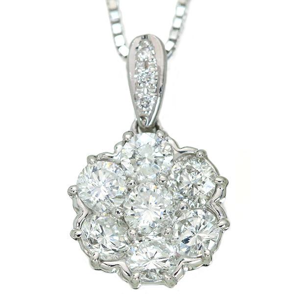 【10%OFFクーポン対象&P2倍】ダイヤモンド ネックレス 1.0カラット プラチナ PT900/PT850 眩しいダイヤのフラワー /白・透明(ホワイト)/アウトレット・新品/届10/ラックジュエル luckjewel/1点もの