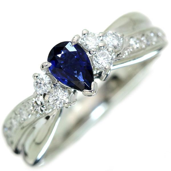 サファイヤ リング/指輪 0.520カラット プラチナ900 PT900 美しい青 /青(ブルー)/【中古】/届5/ラックジュエル luckjewel/